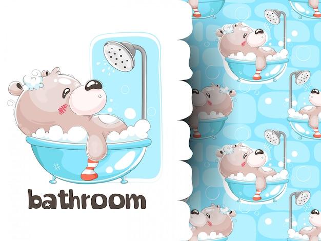 Teddy bear bathing in bathtub with pattern background