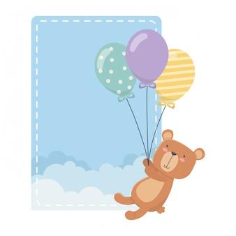 Teddy bear cartoon and balloons