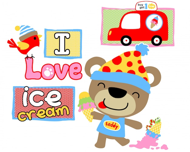 Teddy bear cartoon love ice cream