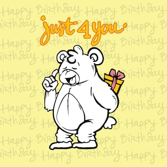 Teddy bear character illustration celebrates birthday