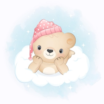 Teddy bear on the cloud blue watercolor background