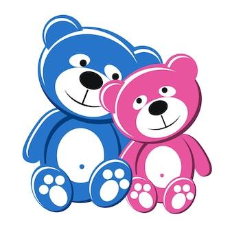 Пара плюшевых мишек, розовые и голубые, влюбленные
