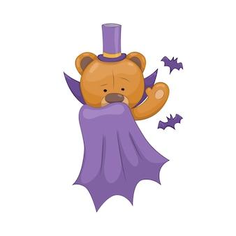 Плюшевый мишка. симпатичное коричневое мультяшное животное. забавный символ фокусника. векторная наклейка. шаблон для печати или поздравительной открытки.
