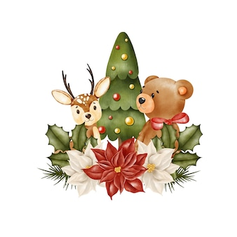 Teddy bear and deer under the christmas tree, banner