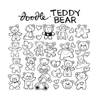 Teddy bear doodle hand drawn