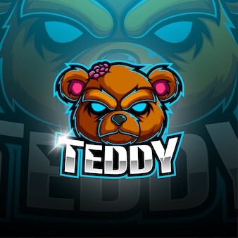 Teddy bear esport mascot logo design