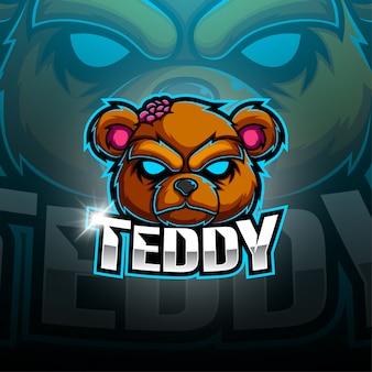 Дизайн логотипа талисмана teddy bear esport