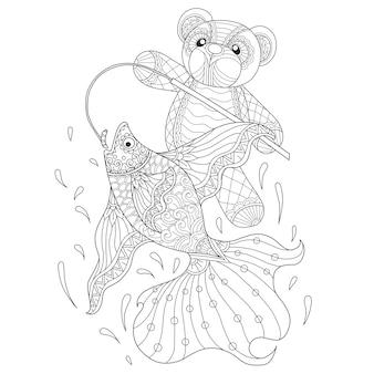 Teddy bear fishing in zentangle style