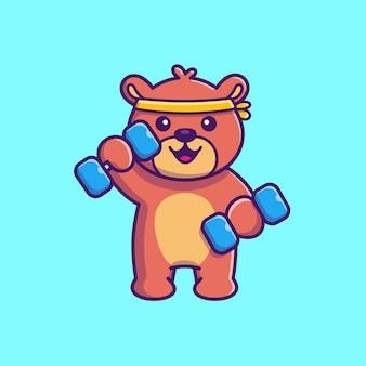 テディベアフィットネスジムアイコンイラスト。スポーツクマのマスコットの漫画のキャラクター。分離された動物アイコンコンセプト