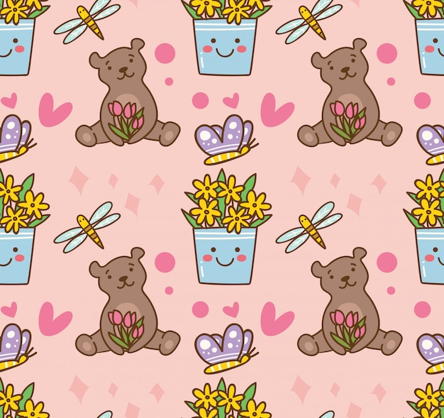 Teddy bear and flower seamless pattern