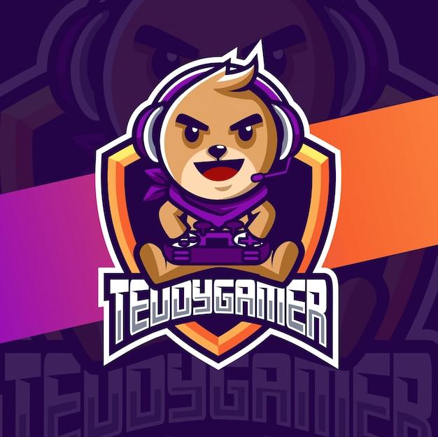 Teddy bear gamer mascot esport logo design