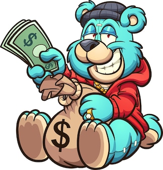Плюшевый мишка держит большую сумку с деньгами и несколько купюр