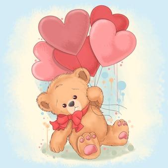 Плюшевый мишка держит воздушные шары в форме сердца