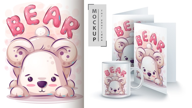 Teddy bear illustration for card and merchandising