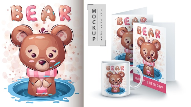 Teddy bear poster and merchandising. vector eps 10