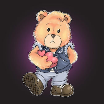 Teddy bear rock n roll and lov watercolor