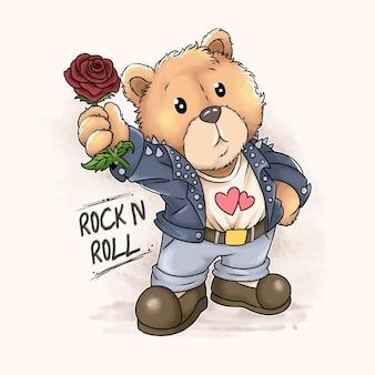 Teddy bear rock n roll and love brings watercolor roses