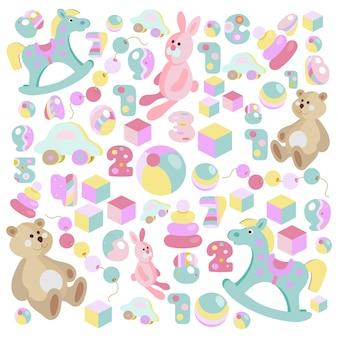 Teddy bear, rocking horse, pink rabbit toys set