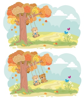Teddy bear on swing autumn vector concept
