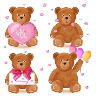Teddy bear watercolor set