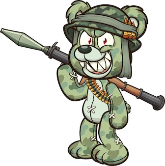 Teddy bear wearing a military helmet and holding a rocket launcher