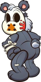 Плюшевый мишка с хоккейной маской, оглядываясь назад