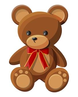 Плюшевый мишка с бантом. мишка плюшевая игрушка. значок плюшевого медведя. векторная иллюстрация в плоском стиле