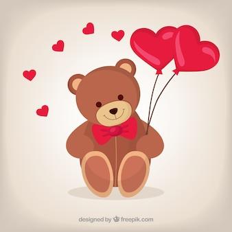 Teddy bear with colorful balloons vector