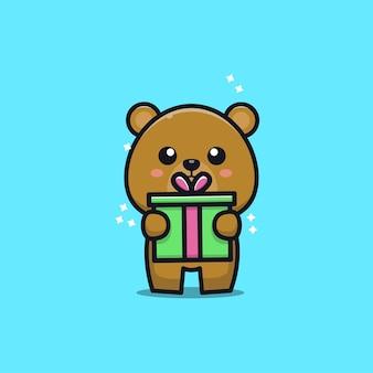 Teddy bear with gift  cartoon   illustration Premium Vector