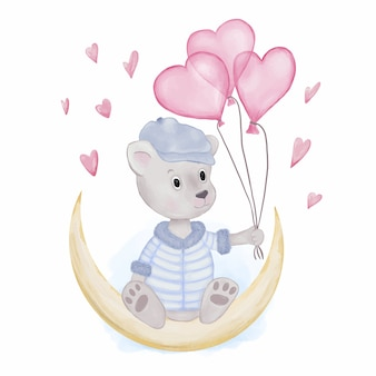 Teddy bear with heart baloons
