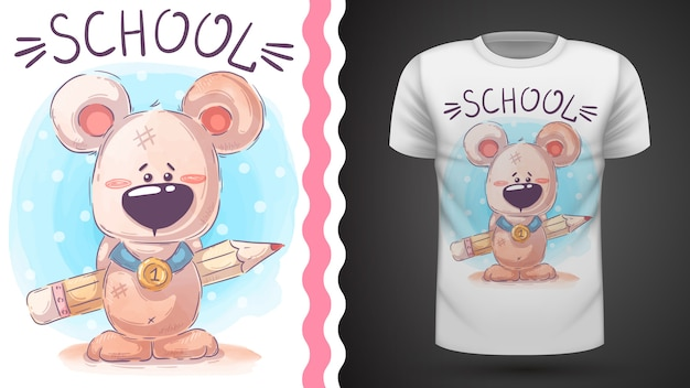 Teddy bear with pencil - idea for print t-shirt