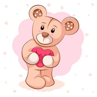 Teddy bear with pink heart.