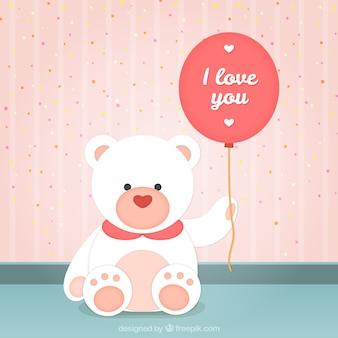 Teddy bear with a romantic balloon