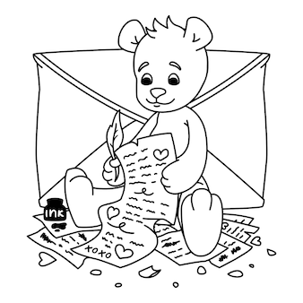 Teddy bear writes a love letter. valentines day greeting card with hearts and envelope. print for kids coloring book.