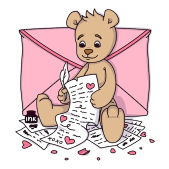 Teddy bear writes a love letter. valentines day greeting card with hearts and envelope. print for kids invitations, greetings postcard.