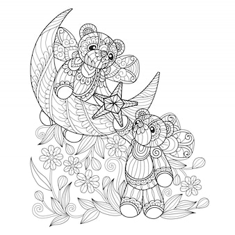 Teddy bears coloring pages for adults