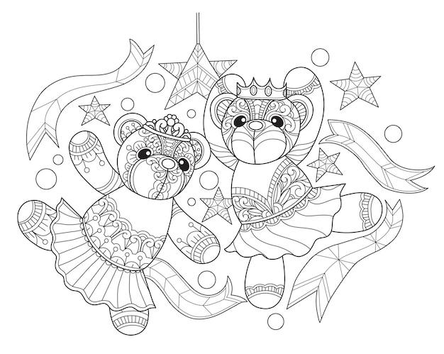 Тедди медведи, танцующие в стиле zentangle