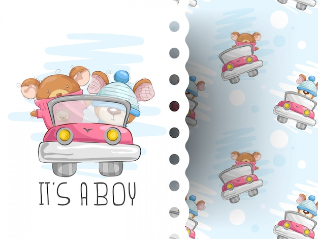 Teddy bears driving with background pattern