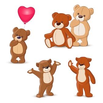 Teddy bears set on white background