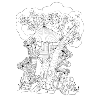 Teddy bears and tree house hand drawn illustration.
