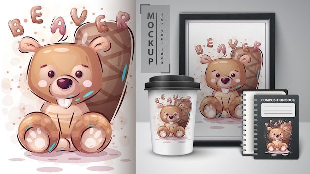 Teddy beaver - poster and merchandising.