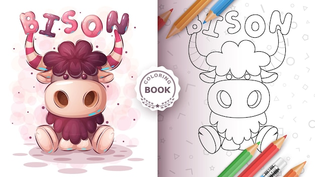 Teddy bison animal coloring book