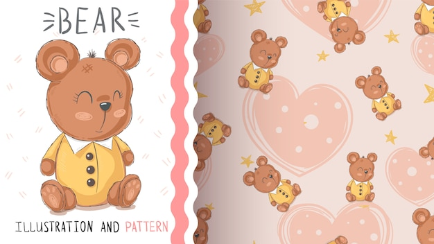 Teddy cute bear seamless pattern