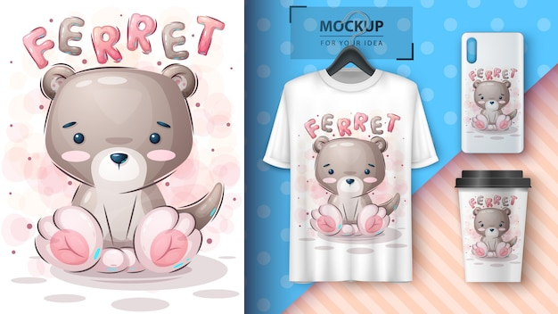Teddy ferret poster and merchandising.