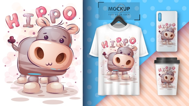 Teddy hippo. poster and merchandising