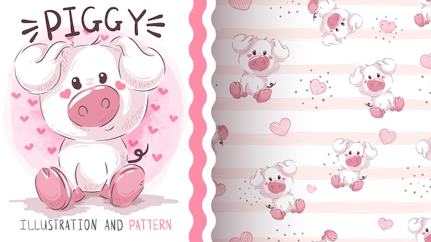 Teddy pig - seamless pattern