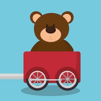 Teddy in train wagon vector illustration design
