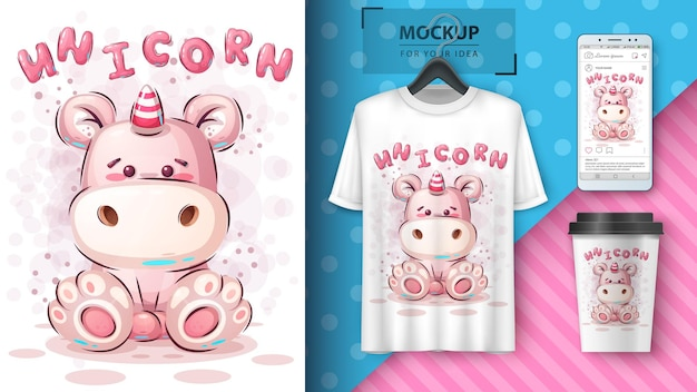 Teddy unicorn poster and merchandising. vector eps 10