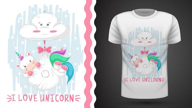 Teddy unicorn sleep - идея для футболки с принтом