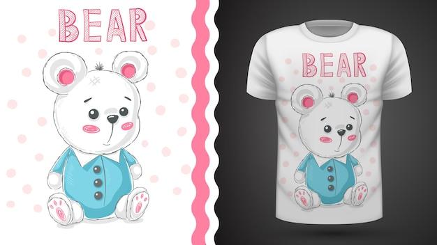 Милая мишка teddy для футболки с принтом